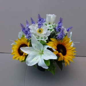 Pot For Memorial Vase With Artificial Sunflowers Lilies